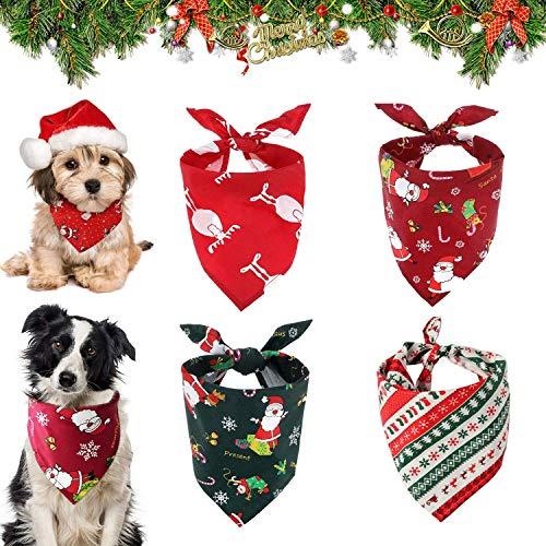 WELLXUNK Pañuelo Perro 4 Pack Pañuelos para Perros,Pañuelo de Mascotas,Pañuelos de Navidad para Perro,Baberos para Mascotas para Perros Pequeños Medianos Grandes Mascotas