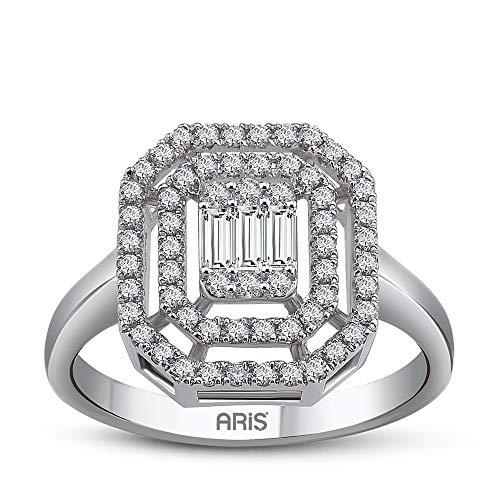 Aris Diamond - Anillo baguette de diamante de 0,47 quilates y oro blanco 585 de 14 quilates.