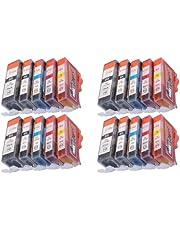 20 x cartridges voor Canon met chip vervangt PGI-520BK zwart (CLI – 521BK zwart CLI – 521 C cyaan CLI 521 M magenta, CLI – 521Y geel