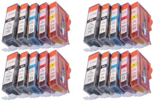 20 Druckerpatronen für Canon mit Chip, ersetzt PGI-520BK schwarz, CLI-521BK schwarz, CLI-521C cyan, CLI-521M magenta, CLI-521Y gelb
