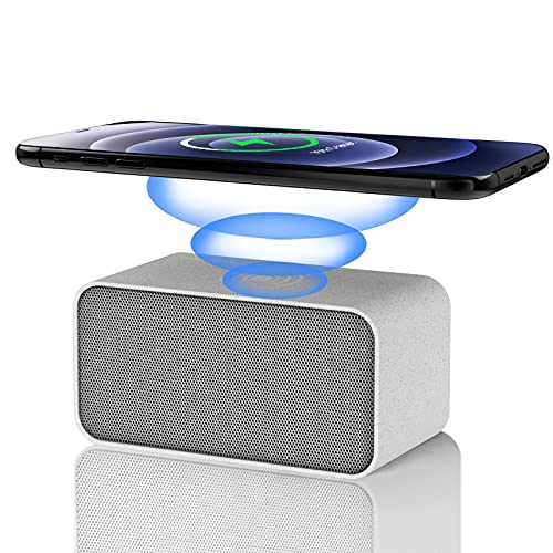 Wireless Charger with Bluetooth Speaker Portable 15W 10W 7.5W 5W Fast Charging for iPhone 12 iPhone 11 Samsung Qi-Enabled,2 in 1 Premium Hi-Fi Stereo Sound Speaker Home Audio Player,Wheat Straw Print