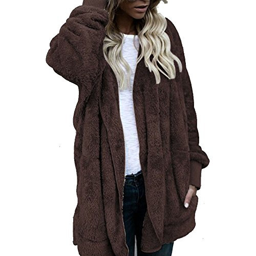 waitFOR Sale Women Winter Plus Size Thermal Hooded Plush Coat Solid Color Loose Open Front Long Sleeve Jacket Ladies Fashion Large Size Cardigan Medium Coats Parka Outerwear Coffee