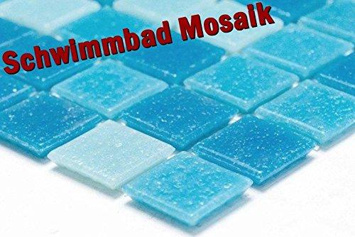 Mosaïque de réseau mosaïque Carrée pour carrelage mosaïque Mix bleu clair/bleu piscine piscine mosaïque de vorderseitig Papier collées