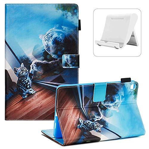 Shinyzone Coque de Protection pour Samsung Galaxy Tab A 8 Pouce SM-P200/SM-P205 2019 avec Porte-Stylet,[Support de Téléphone Portable] [Fonction Sommeil/Réveil Automatique],Chat Miroir