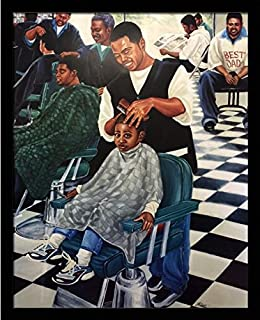 Saturday Morning Cut (Barber Shop) - Katherine Roundtree 24x30 Black Framed - African American Black Art Print Wall Decor Poster #USB2254 us9i16