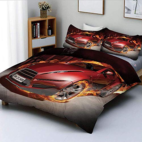Bettbezug-Set, rote Sportwagen-Burnout-Reifen in Flammen lodernder Motor Hot Fire Smoke Automobile DecorativeDecorative 3-teiliges Bettwäscheset mit 2 Kissen Sham, Rot Schwarz Orange, BES