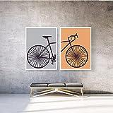 CUTMG Póster de Amante de la Bicicleta, Regalo de Atleta, Gris y Naranja Moderno díptico de Bicicleta Lienzo Pintura artística, Cuadro decoración de Pared Minimalista (75x95cm) X2 sin Marco