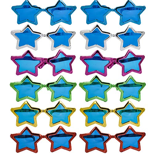 Carnavalife Pack de 12 Gafas de Disfraz para Fiesta, con Diseño Atrevido de Estrellas, Aniversario, NocheVieja y Fiestas de Disfraces.