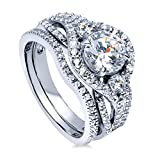 BERRICLE Rhodium Plated Sterling Silver Round Cubic Zirconia CZ 3-Stone Anniversary Engage...