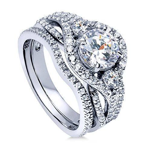 BERRICLE Rhodium Plated Sterling Silver Round Cubic Zirconia CZ 3-Stone Anniversary Engagement Wedding Ring Set 2.22 CTW Size 9
