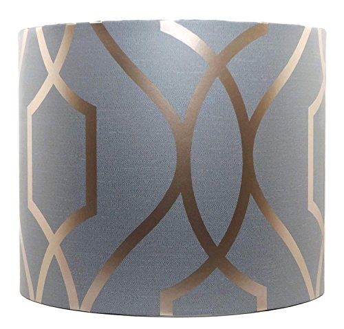 """Geometric Lampshade or Ceiling Light Shade 10"""" Drum Bedroom Accessories Apex Trellis Sidewall Grey & Copper Effect"""