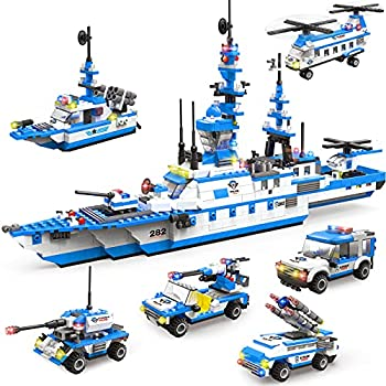 1169 Pieces City Police Station Building Kit 6 in 1 Military Battleship Building Toy with Cop Car Patrol Boat Helicopter Best Learning Roleplay STEM Construction Toys Gift for Boys and Girls 6-12
