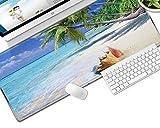 NZTCRFP Alfombrilla De Ratón Gran Tamaño 800X300MM Paisaje Marino De Concha De Playa Mouse Pad Gaming XL - Precisión Y Velocidad En Juegos - Antideslizante - Superficie Tejido - para Ratón Y Teclado