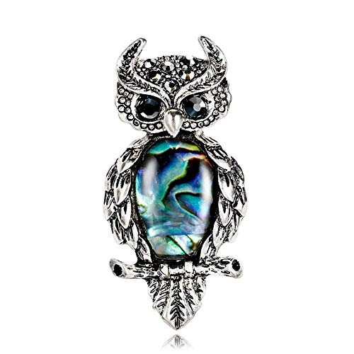 Natural Shell Vintage Brooch for Women Girl Cute Owl Cat Animal Brooch with Rhinestones Women Brooch Pin for Scarf Coat Clothing