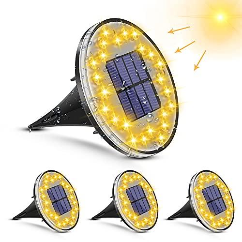 [4 piezas] Luces Solar de Tierra Luz – 24 LED Luces Solares Exterior Jardin, 2 modos IP68 Lámparas de Suelo, Luces Solares de Jardín para Iluminación de Patio, Carretera, Césped