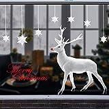 UMIPUBO Weihnachten Aufkleber Fenster Dekoration Weißer großer Elch Fensteraufkleber Schneeflocke Fensterbild PVC Entfernbarer Elektrostatischer Aufkleber Weihnachtssticker (Weihnachten) - 3