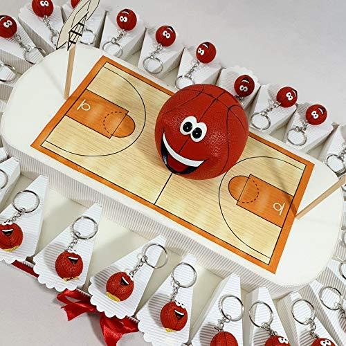 Sindy Bomboniere Bomboniera per cresima Comunione Compleanno Campo da Basket Pallacanestro con Portachiavi (Campo da 27 fette + 27 Portachiavi + Centrale salvadanaio)