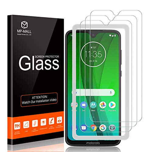 MP-MALL 3-Pack Screen Protector Compatible for Motorola Moto G7, Moto G7 Plus Tempered Glass Easy Installation Alignment Frame Case Friendly