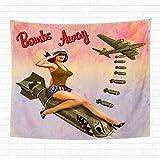 henghuidashi 60x80 Inch Tapestry Wall Hanging Retro Pin Up Girl Sitting on The Bomb Ngirl Vintage Po...