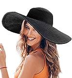 Dafunna Femme Chapeau de Soleil Large Disquette Bord Chapeau de Paille UPF50+ UV Protection D'été Pliable Chapeau Femme Plage Beachwear Voyage Fête (a3)