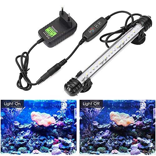 GreenSun Luz LED Sumergible para Acuarios, Barra de luz Subacuatica 2,8W 18cm Lampara Sumergible Acuario LED, Tubos de Luz Impermeable, Blanco + azul