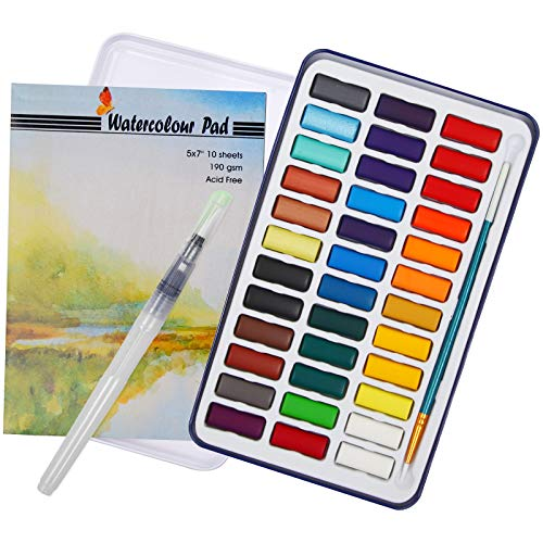 Watercolor Cake Set by Falling in Art, 36 Colors with 2 Water Brushes and 10 Sheets Watercolor Pad for Artists and Starters