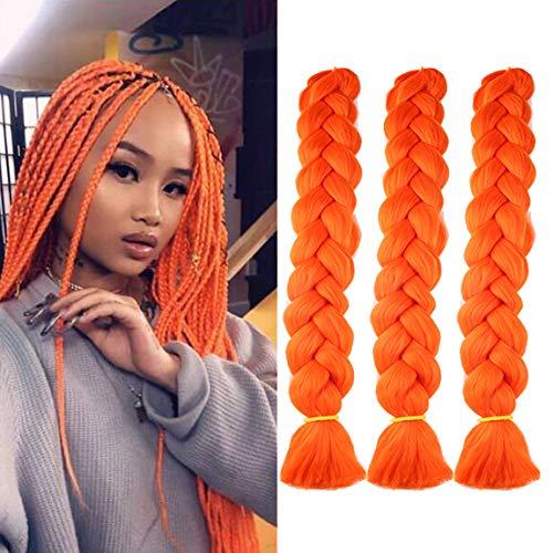 MSCHARM 3 Packs 41 Inch Jumbo Braiding Hair Extensions Neon Orange Hair Box Crochet Braids Soft High Temperature Fiber Crochet Twist Braids for Daily or Party Use 165g/Pack(Orange#)
