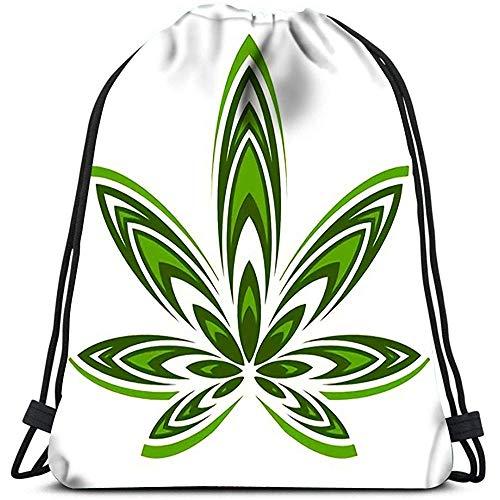 wallxxj Drawstring Bags Sport Cinch Marihuana-Topf-Unkraut-Blatt-Symbol Für Schulgymnastik-Reise Daypack Drawstring-Taschen Drawstring-Rucksack Cinch-Taschen Zufällig