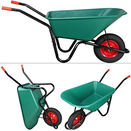 Monzana® Schubkarre 100 Liter Bauschubkarre Gartenschubkarre bis 150kg Belastbarkeit Luftreifen stabile Ausführung mit Kunstoffwanne - 4