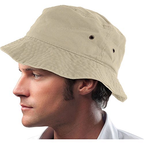 DS Mens 100% Cotton Fishing Hunting Summer Bucket Cap Hat, Putty, Large/X-Large