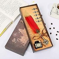 Cafshinu フェザーペン英国スタイルのペン、彼のガールフレンドの同僚教師のギフトを送ります (Color : レッド, Size : フリー)