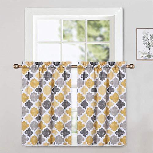 CAROMIO Cafe Curtains 36 Inch Length, Quatrefoil Trellis Printed Cotton Blend Short Farmhouse Kitchen Curtains Small Half Window Curtains for Bathroom, Yellow/Grey