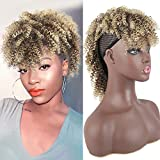 Short 4c Clip in Hair Extensions for Black Women Updo Afro Curly Mohawk Ponytail with Bangs Kinky Curly Clip in Hair Extensions Synthetic Twist Curly Frohawk Hairpieces Bun High Ponytail 8 Clips