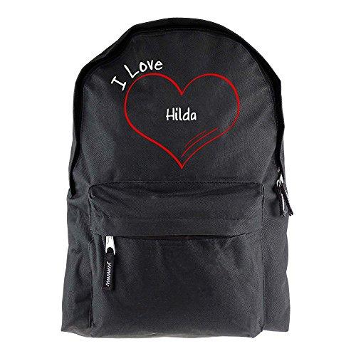 Rucksack Modern I Love Hilda schwarz - Lustig Witzig Sprüche Party Tasche