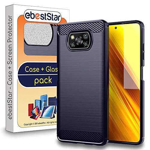 ebestStar - kompatibel mit Xiaomi Poco X3 NFC Hülle Kohlenstoff Design Schutzhülle, TPU Handyhülle Flex Silikon Hülle, Dunkelblau [Phone: 165.3 x 76.8 x 9.4 mm, 6.7'']
