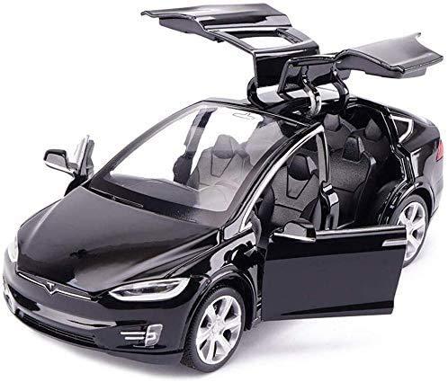 WJSXJJ Auto-Modell-Simulation Sport Car Sound und Licht-Musik Zurück zum Legierung Auto-Spielzeug-Auto 1.32 Tesla Model X