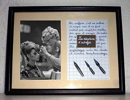 Tableau avec photo ancienne et texte sur le métier de coiffeur ou coiffeuse