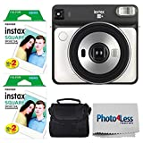 Fujifilm instax Square SQ6 Instant Film Camera (Pearl White) + Fujifilm instax Square Instant Film (40 Exposures) + Small Digital Camera/Video Case (Black) + Photo4Less Camera and Lens Cleaning Cloth