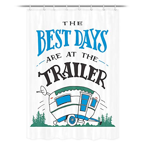 JAWO RV Shower Curtain, The Best Days are at The Trailer Stall Bathroom Curtain, Polyester Fabric Bath Curtains with Hooks 47W X 64L Inches