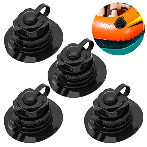 QKURT 4-teiliges Boston-Ventil, Einweg-Universal-Luftventil für Schlauchboot-Kajak-Poolboot-Luftbetten aus Gummi, schwarz