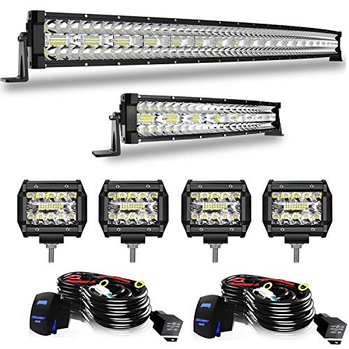 50 Inch Curved Led Light Bar 936W +22 Inch 390W Triple Row Spot Flood Combo Off Road Lights Kits + 4Pcs 4In 60W Driving Fog Lights W/Wiring Harness Kit For Jeep Trucks ATV Boats