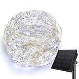 HEEPOW Luci Stringa Solare 200 LED Aggiornata Filo di Rame Solare per Esterno/Interno, Giardino, Casa, Feste Natale e Camera(3 Fili, 8 Modalità, 72ft / 22M) (bianco freddo)