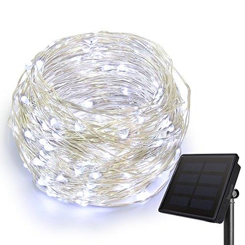 HEEPOW Verbesserte LED Kupferdraht Lichterkette (3-Strang Kupferdraht, 200 LED, 72 ft/ 22M), Solar Lichterkette mit 8 Modi, wasserdicht Solar LED Lichterkette für außen/innen (Cool Weiß)