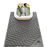 WePet Cat Litter Mat, Kitty Litter Trapping Mesh Mat, 35 x 23 Inch Large, Grey, Premium Durable PVC Rug, No Phthalate, Urine Waterproof, Easy Clean, Washable, Scatter Control, Litter Box Carpet