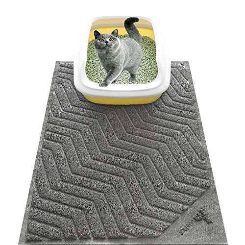 WePet Cat Litter Mat, Kitty Litter Trapping Mesh Mat, 35 x 23 Inch Large, Grey, Premium Durable PVC Rug, No Phthalate, Urine Waterproof, Easy Clean,...