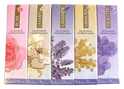 Charrier Parfums Gamme Provence Pack de 5 Sprays Eau de Toilette, Lavande, Rose, Jasmin, Mimosa, Violette, 30 ml