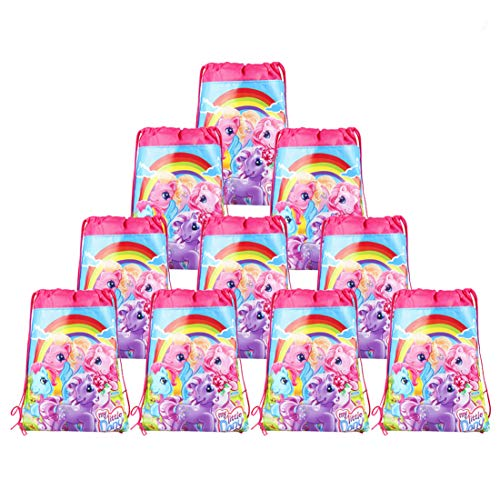 My Little Pony Bags Party Treat Drawstring Bags for Birthday Party, 12 Pack (Pink)
