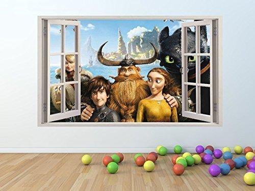 Wie zu Train Your Drachen Film Fenster-effekt Vinyl Wandkunstaufkleber RIEßEIGE GRÖßE 100 x 60 cm - pw63
