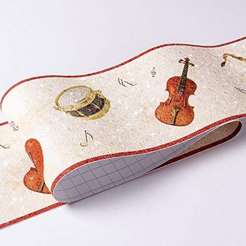 Papel Pintado Frontera Naranja Instrumento Musical Autoadhesivo Extraíble Cintura Etiqueta De Pared Impermeable Zócalo PVC Frontera Decorativa Para Baño Sala Cocina