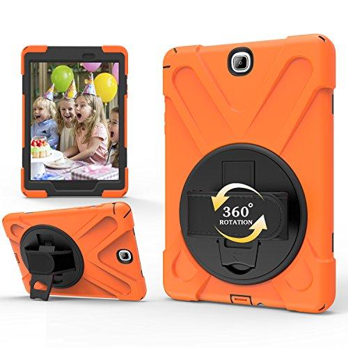 TianTa Custodia per Galaxy Tab S2 8.0 SM-T710/T715, Robusta Custodia Antiurto per Bambini con cavalletto Girevole 360, Cinturino a Mano, Tracolla per Galaxy Tab S2 8.0 Pollici SM-T710/ T715,Arancia